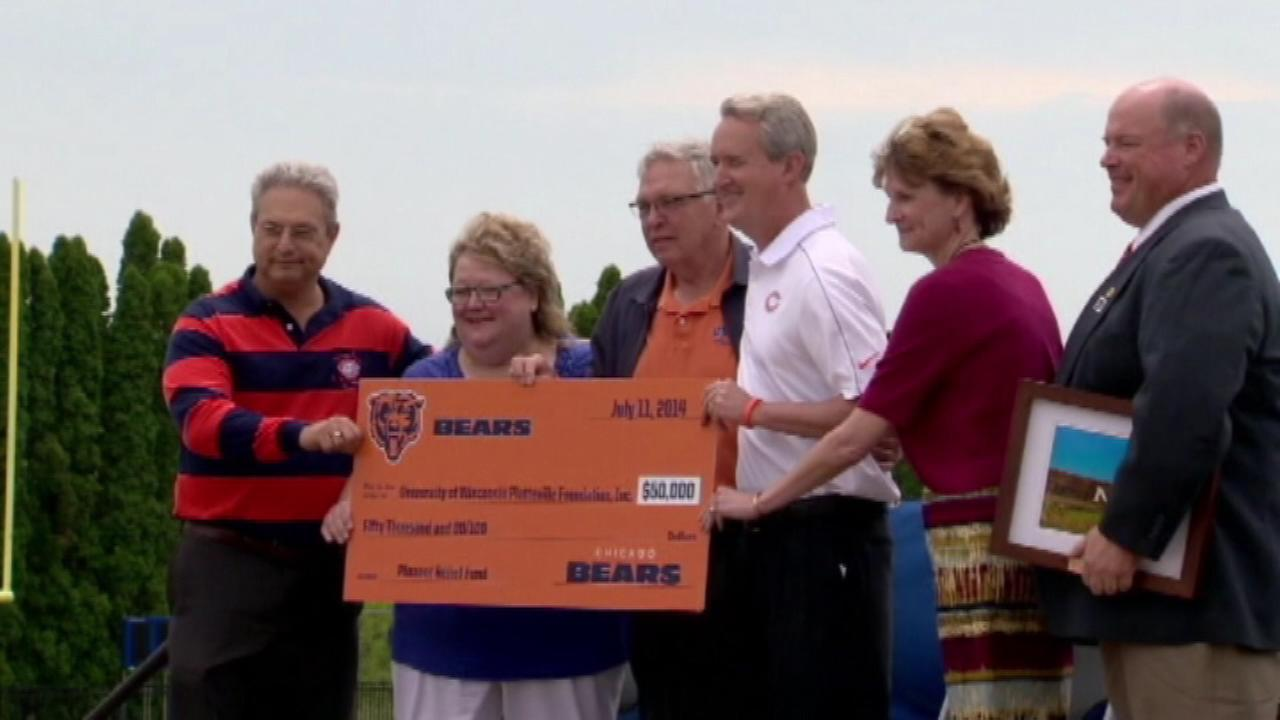 The Chicago Bears donated $50,000 to help the University of Wisconsin-Platteville repair damage caused by a tornado.