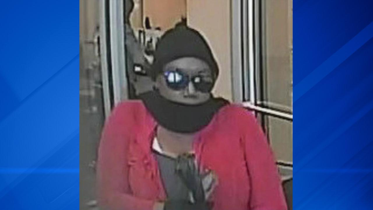 A surveillance image of the suspected bank robber