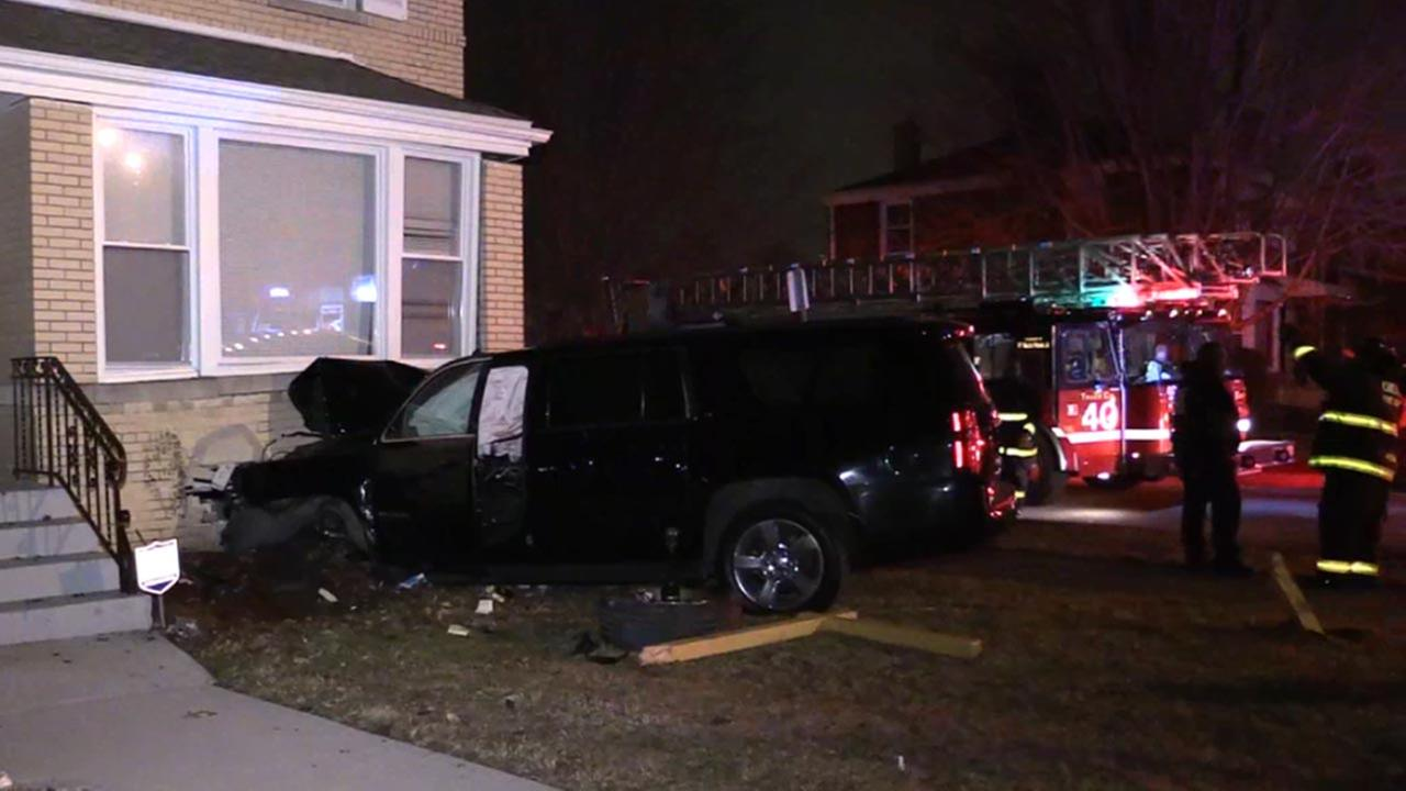 An SUV crashed into a home early Monday in the 9300-block of South Laflin.