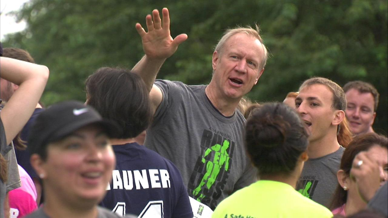 Republican candidate for governor Bruce Rauner was at the Run to End Homelessness Sunday.