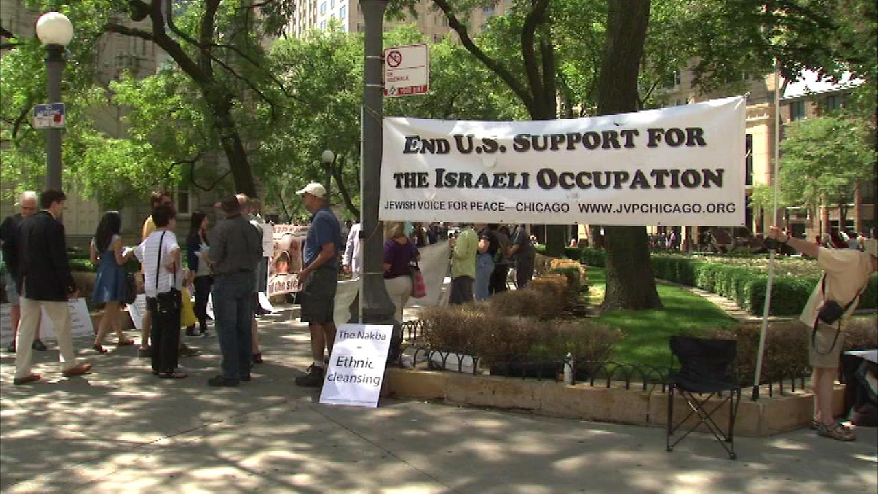 Tempers flared at a protest in downtown Chicago over the crisis in Gaza.