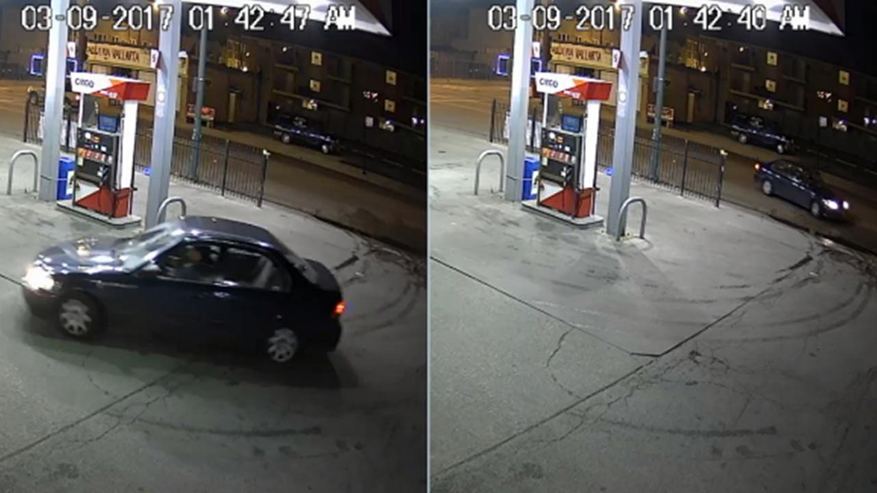 Surveillance images of a car suspected in a fatal crash in the West Elson neighborhood in March.