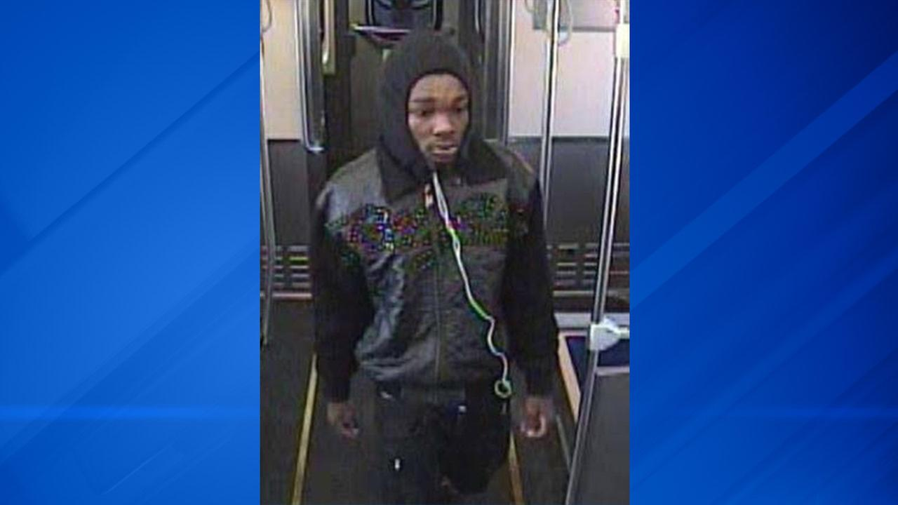 A surveillance image of a suspected cell phone thief on a CTA Pink Line train.