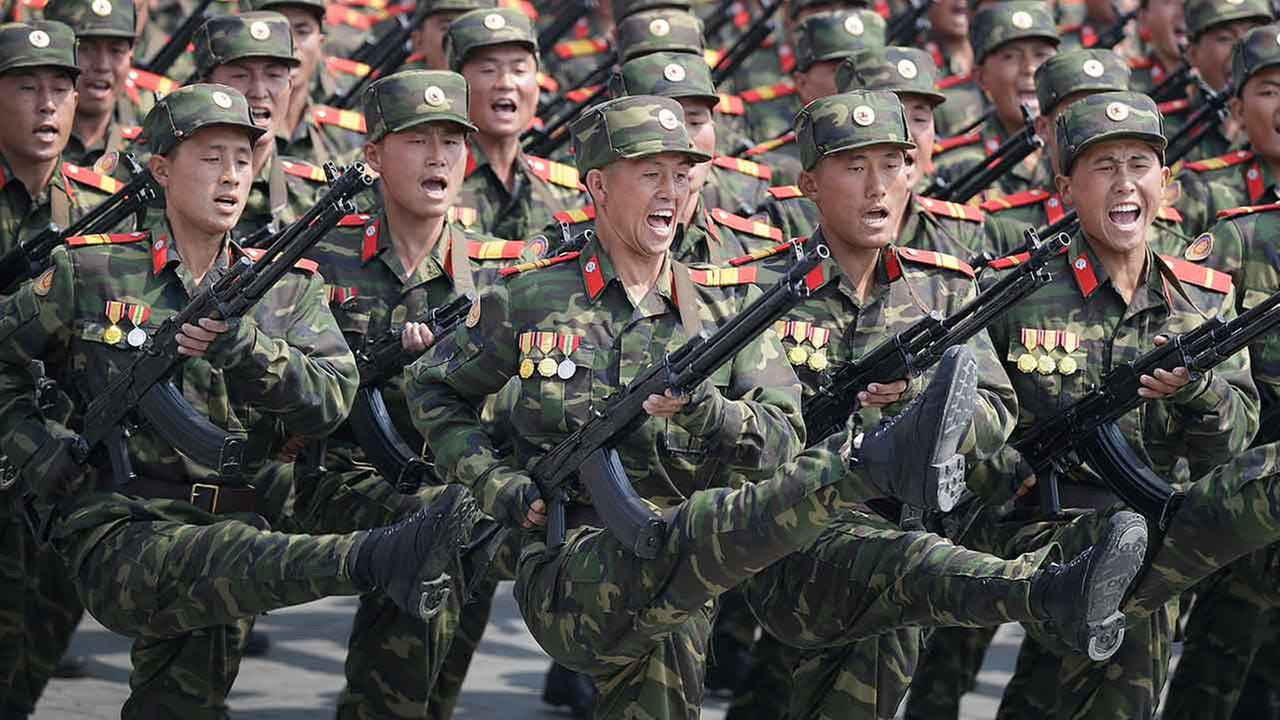 Soldiers march across Kim Il Sung Square during a military parade on Saturday, April 15, 2017, in Pyongyang, North Korea to celebrate the 105th birth anniversary of Kim Il Sung.