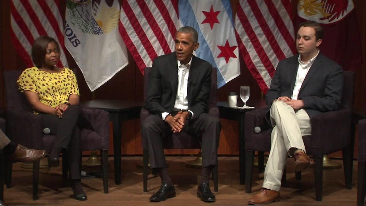 Former President Barack Obama speaks at the University of Chicago.