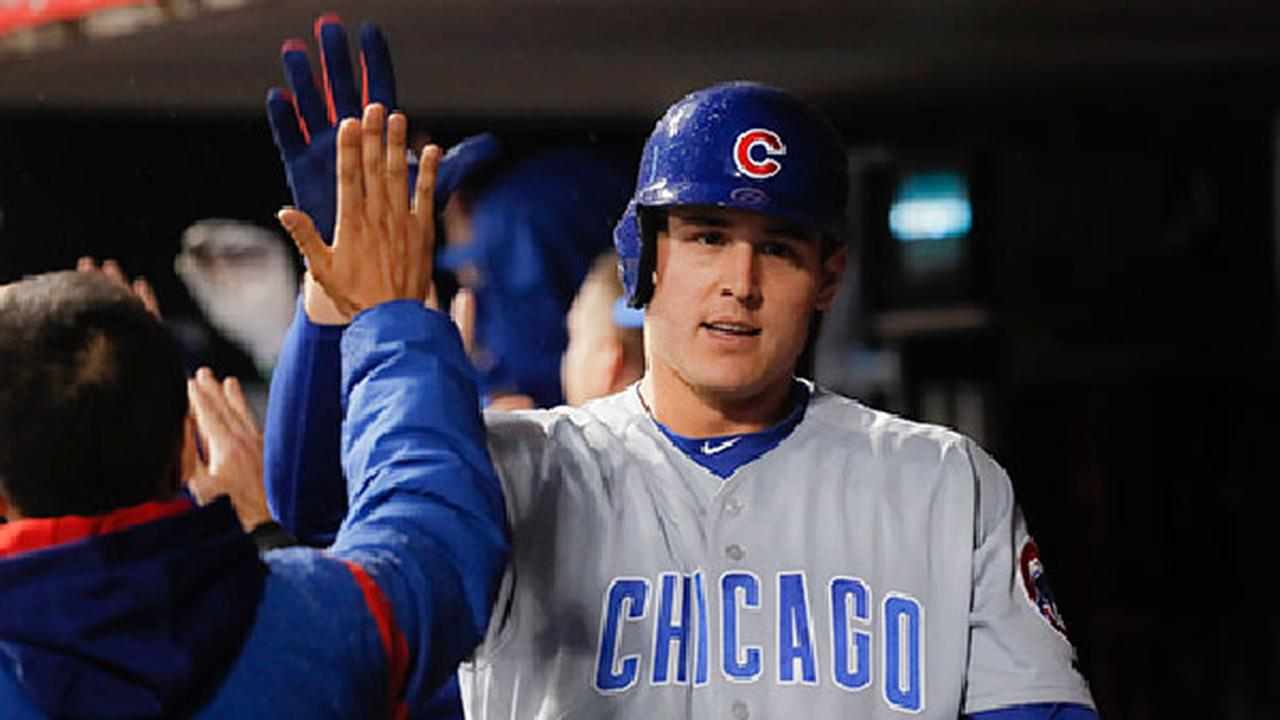 Chicago Cubs Anthony Rizzo celebrates in the dugout after hitting the game-tying three-run home run.