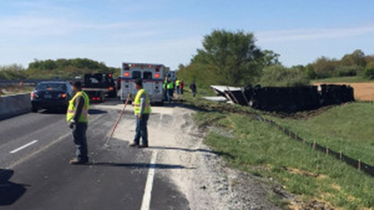 Semi rollover closes southbound I-65