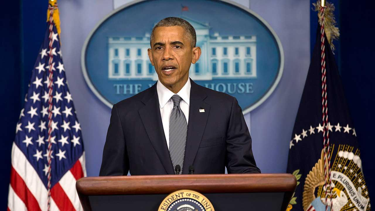 File photo of President Barack Obama speaking about the situation in Ukraine, Friday, July 18, 2014, at White House in Washington.