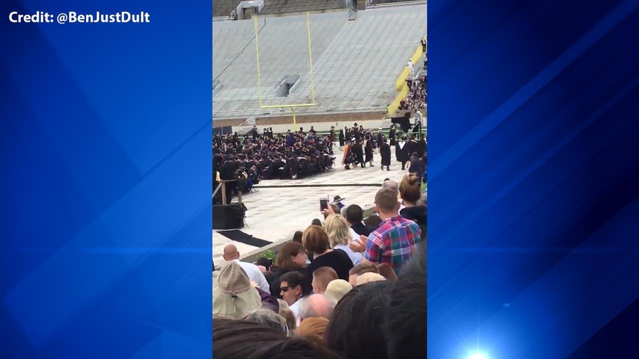 Pence Notre Dame graduation walkout