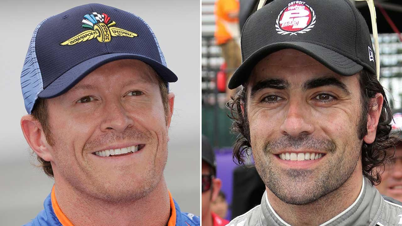 IndyCar driver Scott Dixon (left), of New Zealand, and Dario Franchitti (right), of Scotland.