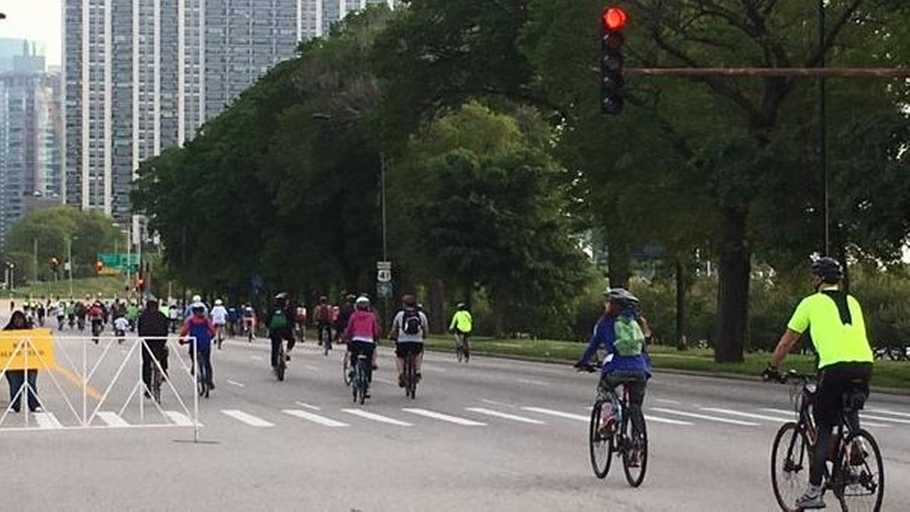 Bicyclists take over Lake Shore Drive for the annual Bike the Drive.