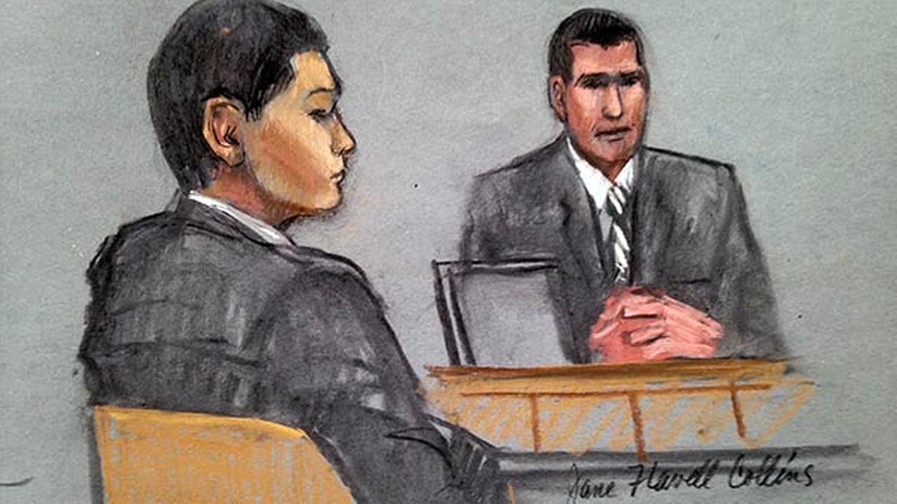 In this courtroom sketch, defendant Azamat Tazhayakov, left, is depicted listening to testimony during the first day of his federal obstruction of justice trial on July 7, 2014.
