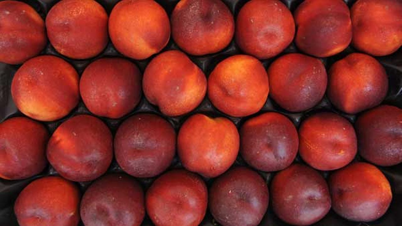 Nectarines are offered in a market in Puchheim, southern Germany.