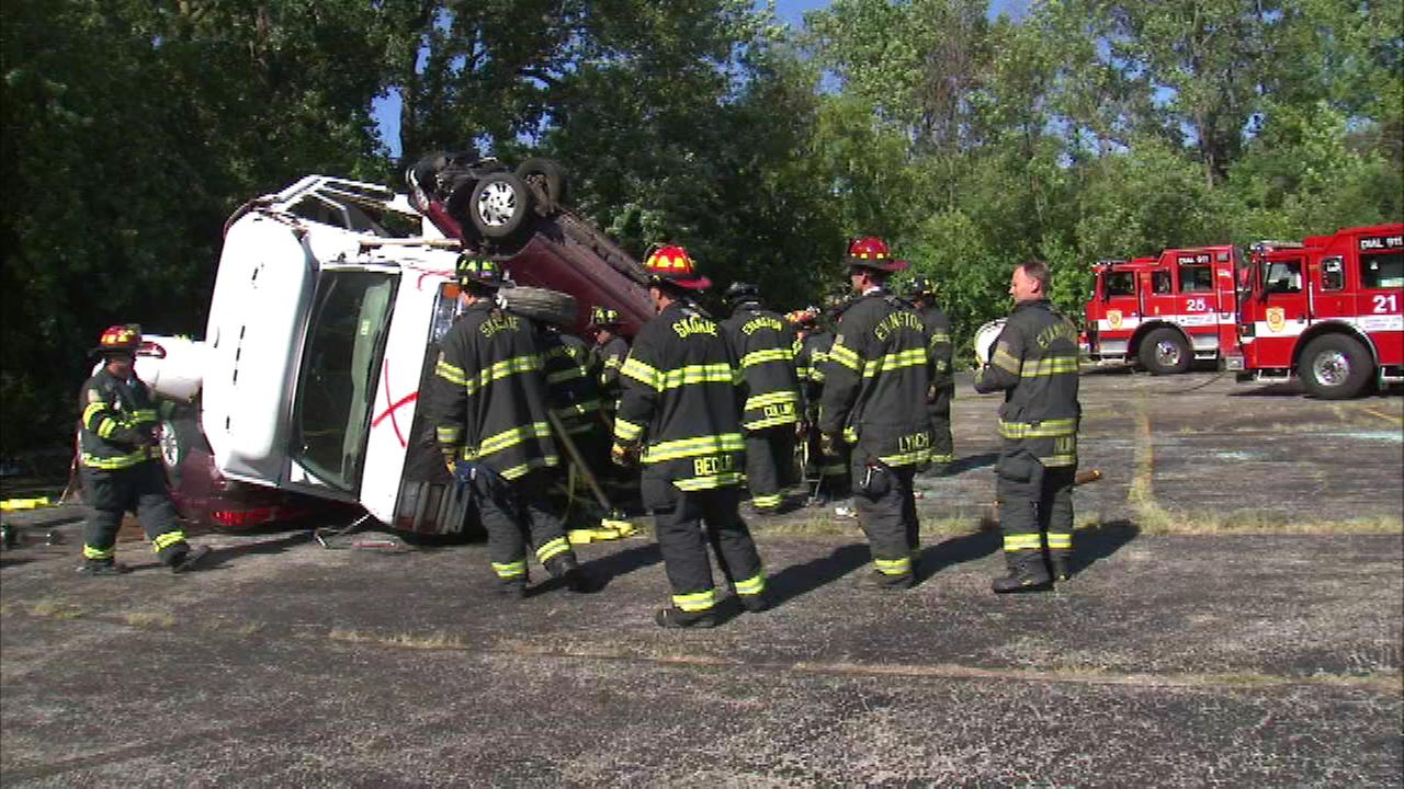 Firefighters in north suburban Evanston put their skills to the test in a staged emergency drill.