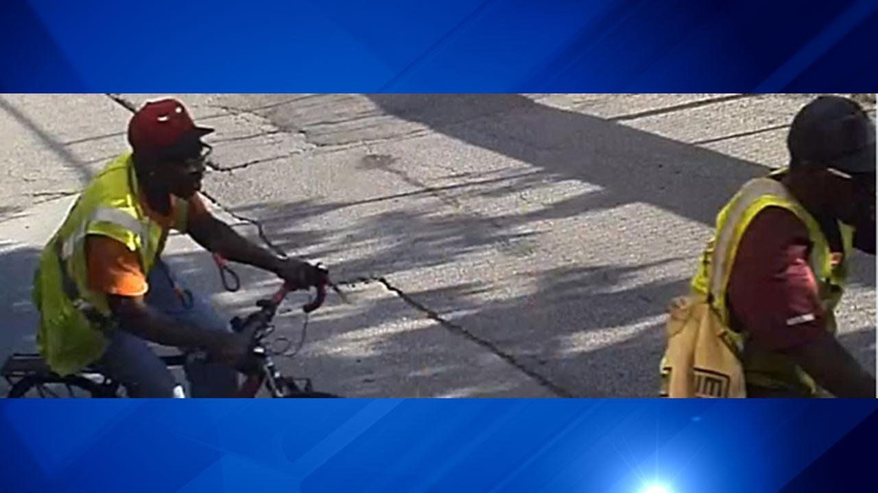 Two suspects in a series of South Loop bike thefts ride bikes. Chicago Police Department