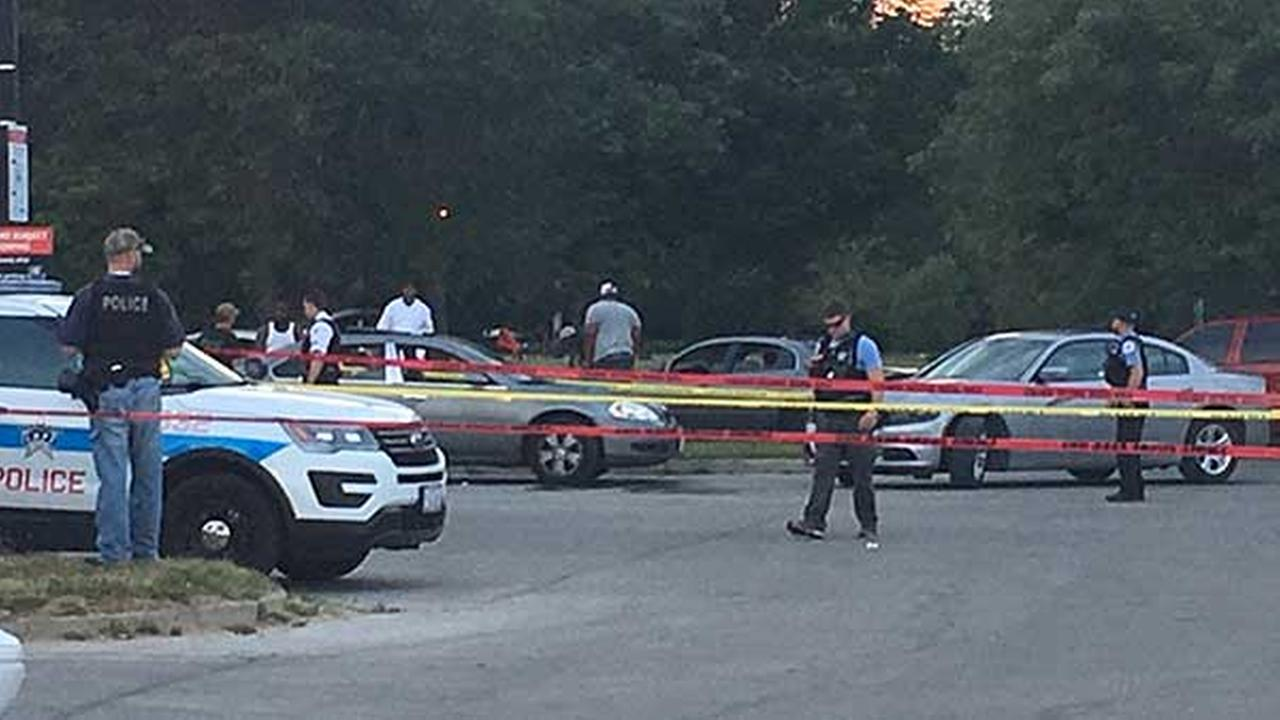 Three people were shot at Rainbow Beach in Chicagos South Shore neighborhood Sunday night, the Chicago Fire Department said.