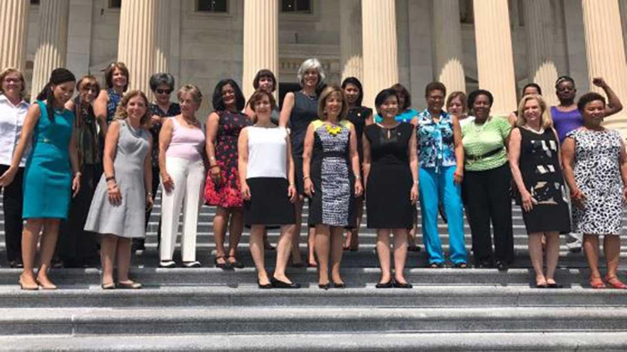Twitter photo by U.S. Rep. Chellie Pingree, a Democrat from Maine, of women protesting ban on sleeveless dresses and blouses in the Speakers Lobby.
