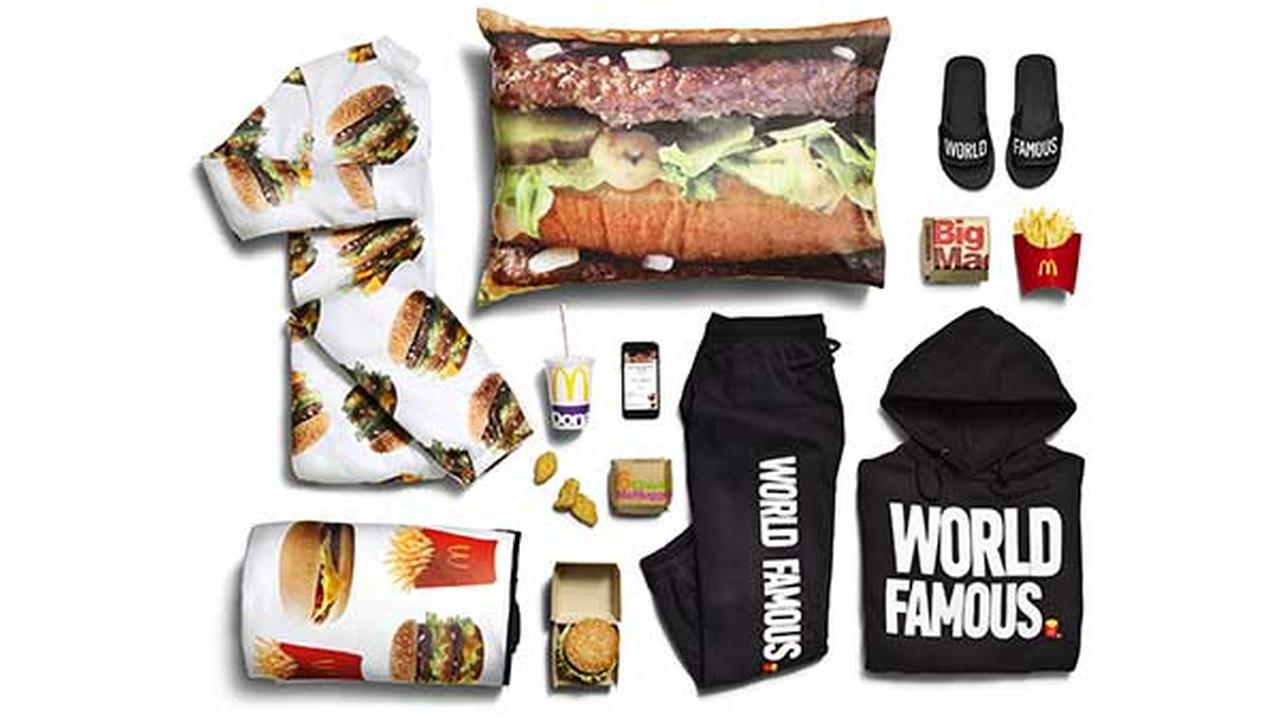 This photo provided by McDonalds shows the companys McDelivery Collection, a new clothing line that includes an adult-size Big Mac onesie.