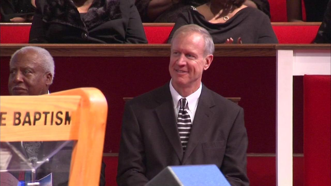 Republican candidate for Illinois governor Bruce Rauner attended the 27th anniversary celebration of the popular gospel show Singsation on Sunday.