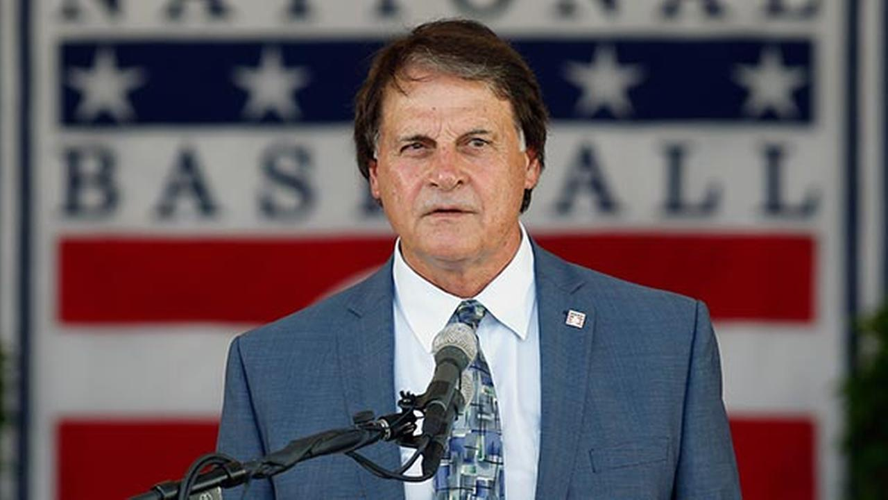 National Baseball Hall of Fame inductee Tony La Russa speaks during an induction ceremony at the Clark Sports Center on Sunday, July 27, 2014, in Cooperstown, N.Y.