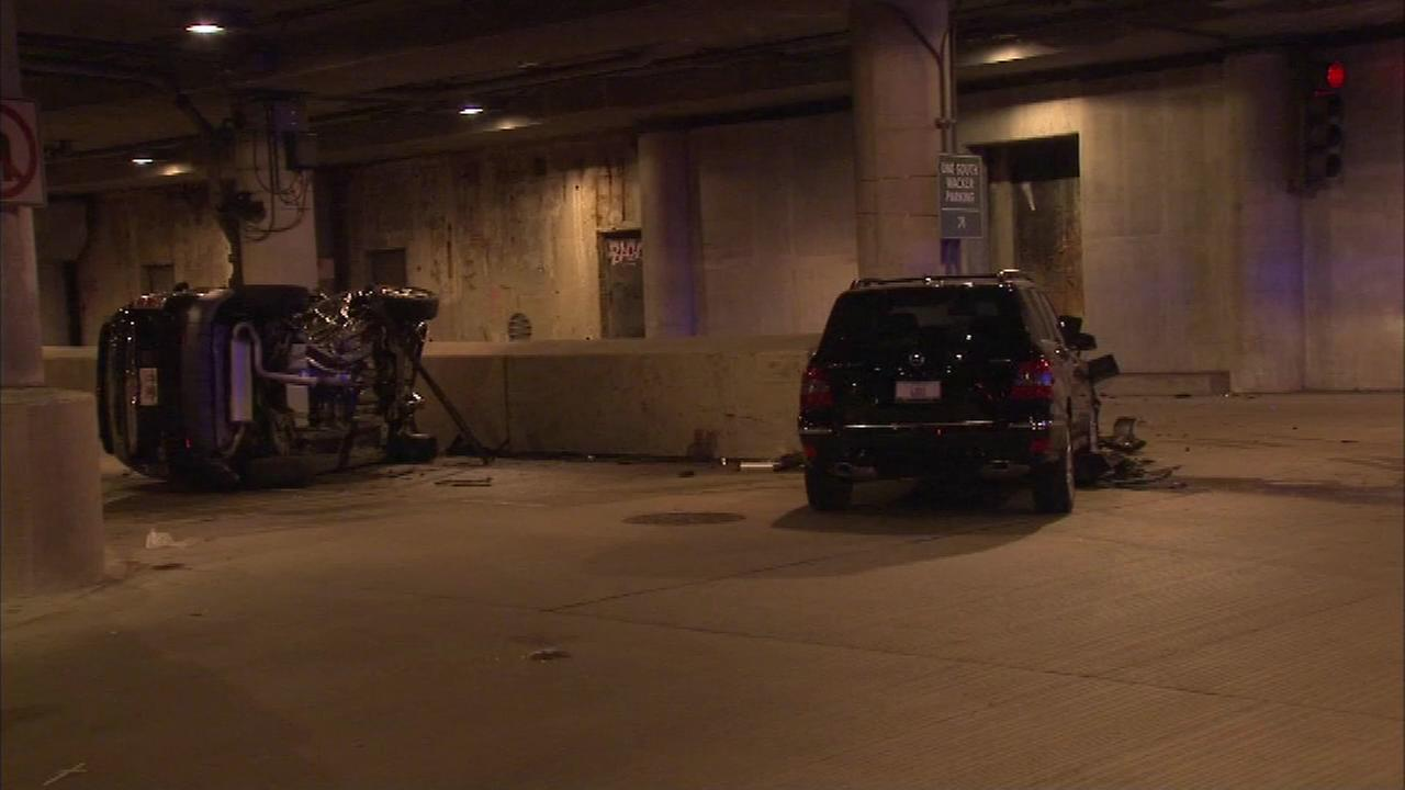 Five people, including four children, were hurt in a crash just before 7 Sunday night in the 100 block of South Lower Wacker.