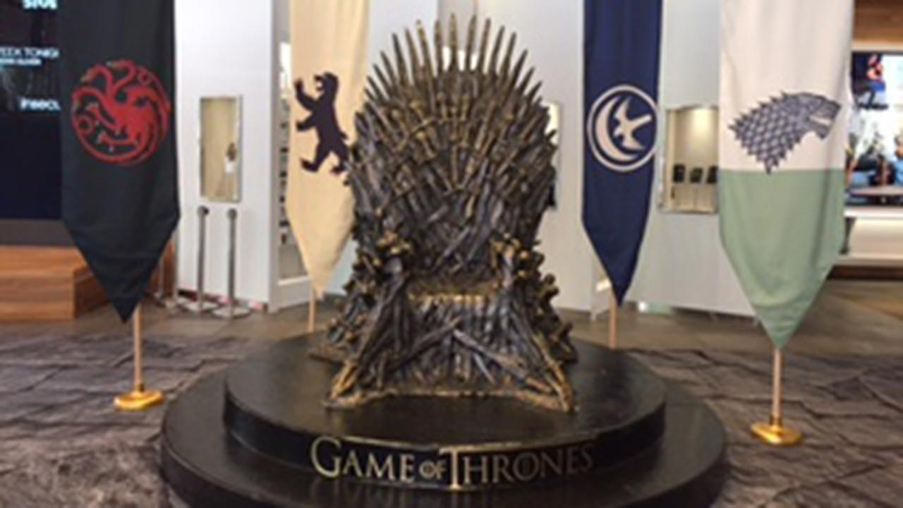 A replica of the Iron Throne from Game of Thrones.