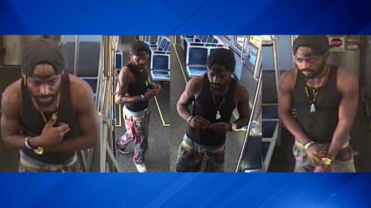 Surveillance images of a suspect wanted in connection with an armed robbery aboard a CTA Green Line train.