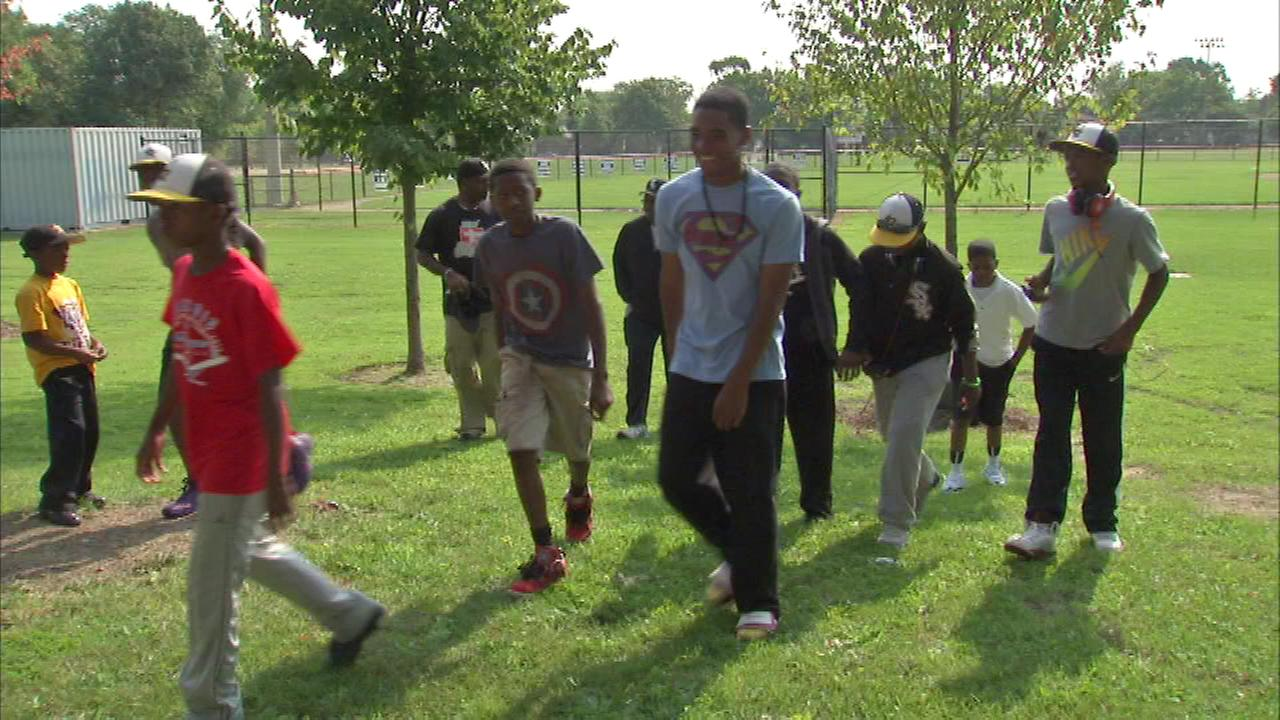 Members of the Jackie Robinson West Little League team left Thursday for Indianapolis to play in the Great Lakes