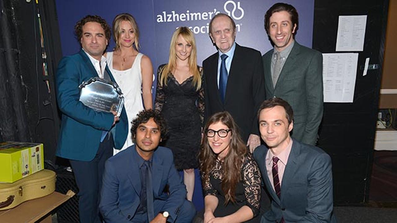 The cast of The Big Bang Theory, along with Bob Newhart, pose backstage with the Abe Burrows entertainment award at the 22nd annual A Night at Sardis benefit on March 26, 2014