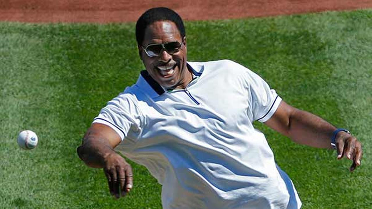 Baseball Hall of Famer Dave Winfield throws out a ceremonial first pitch to help kick off the 2014 Little League World Series tournament in South Williamsport, Pa.,Gene J. Puskar
