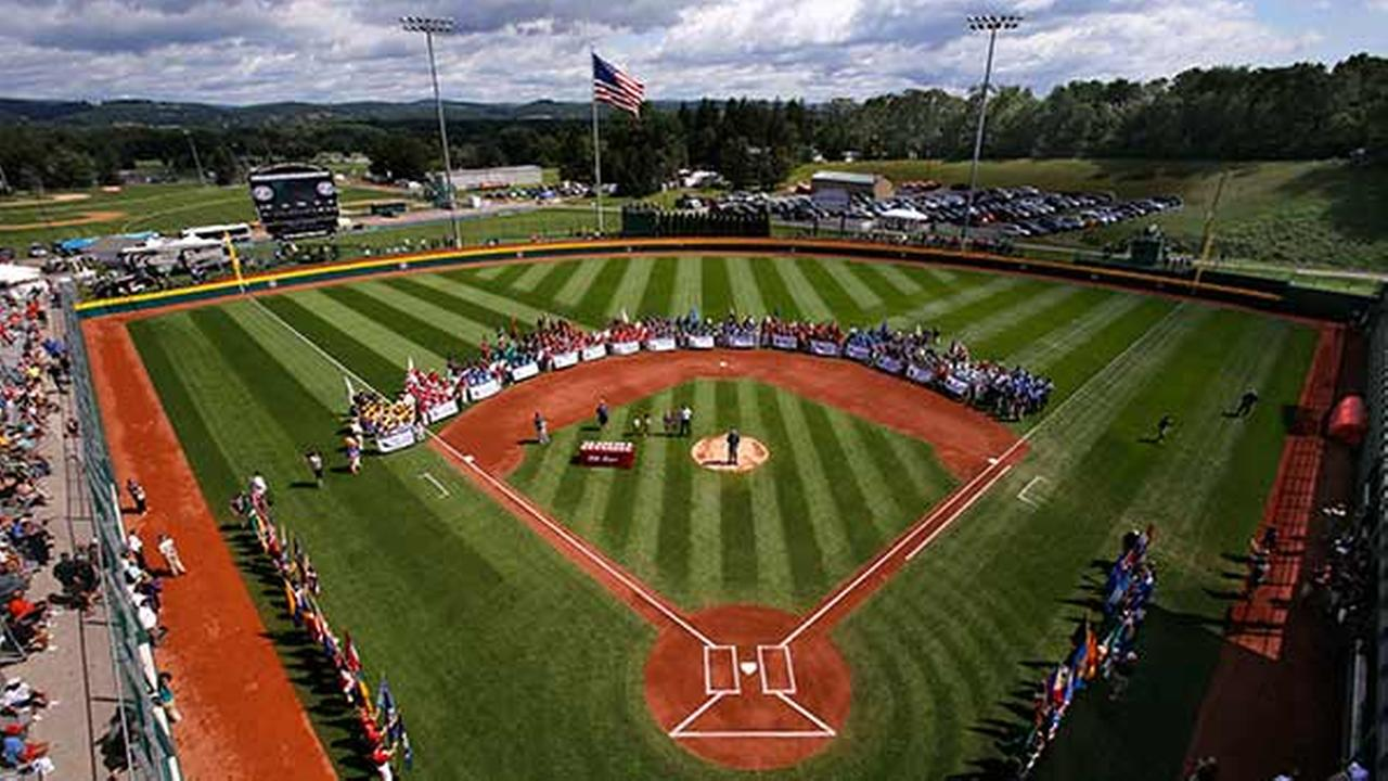 16 Little League baseball teams line the field at Volunteer Stadium during the opening ceremony of the 2014 Little League World Series tournament in South Williamsport, Pa.Gene J. Puskar