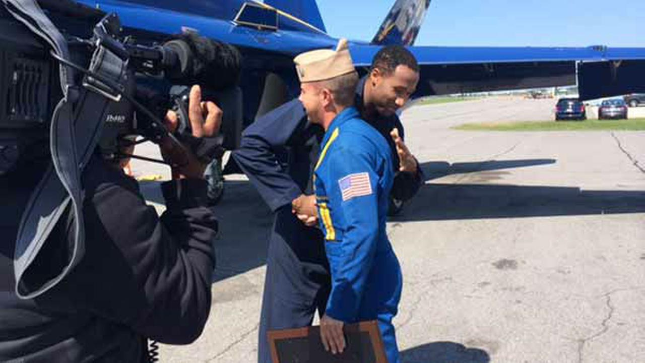 ABC7s Terrell Brown Blue Angels ride