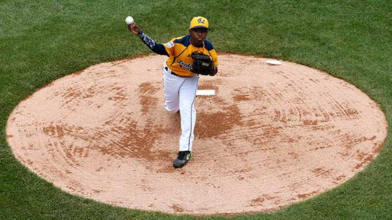 Chicago pitcher Brandon Green delivers during the first inning of a baseball game against Las Vegas at the Little League World Series tournament in South Williamsport, PaGene J. Puskar