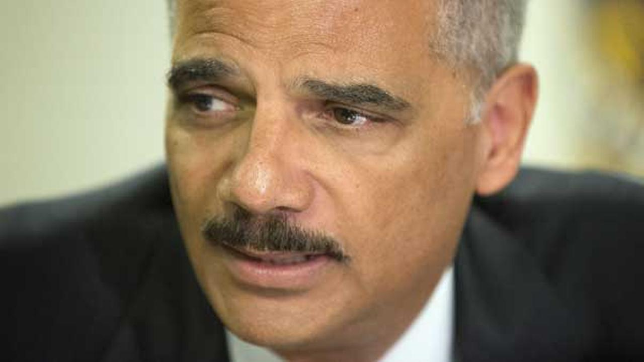 Attorney General Eric Holder during his meeting at the FBI building in St. Louis.