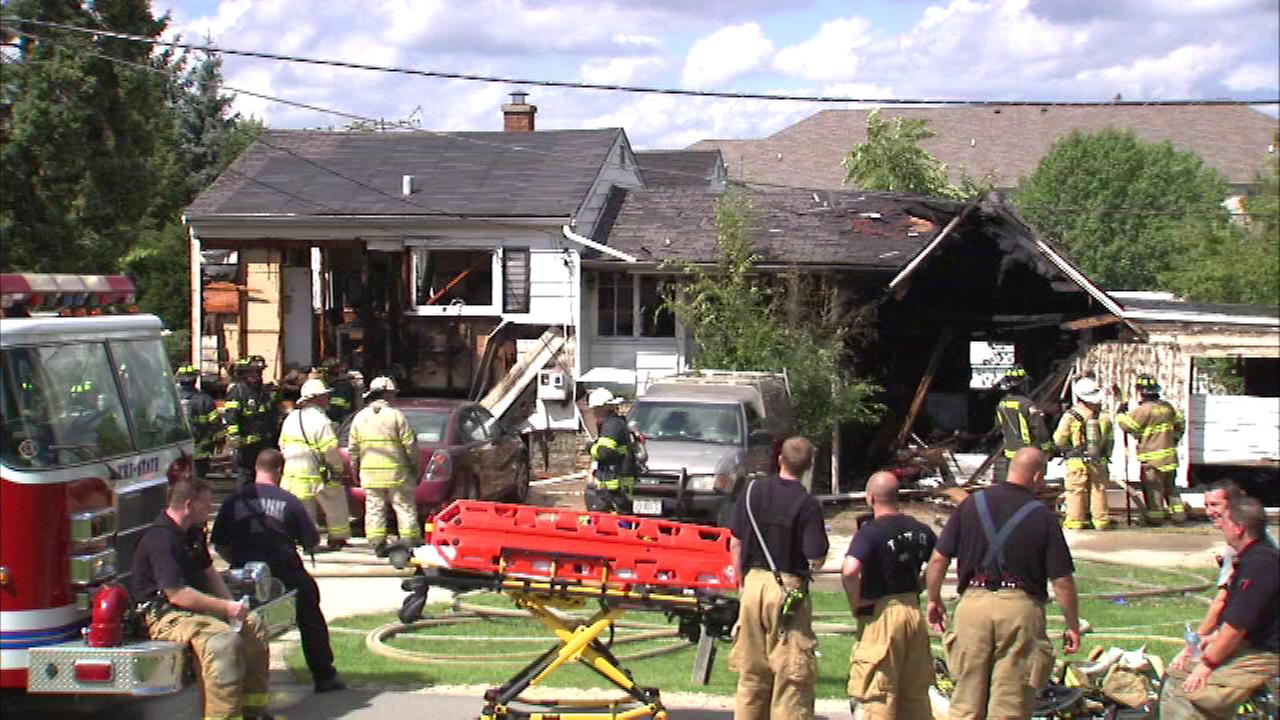 Fire destroyed a home in west suburban Hinsdale Saturday.