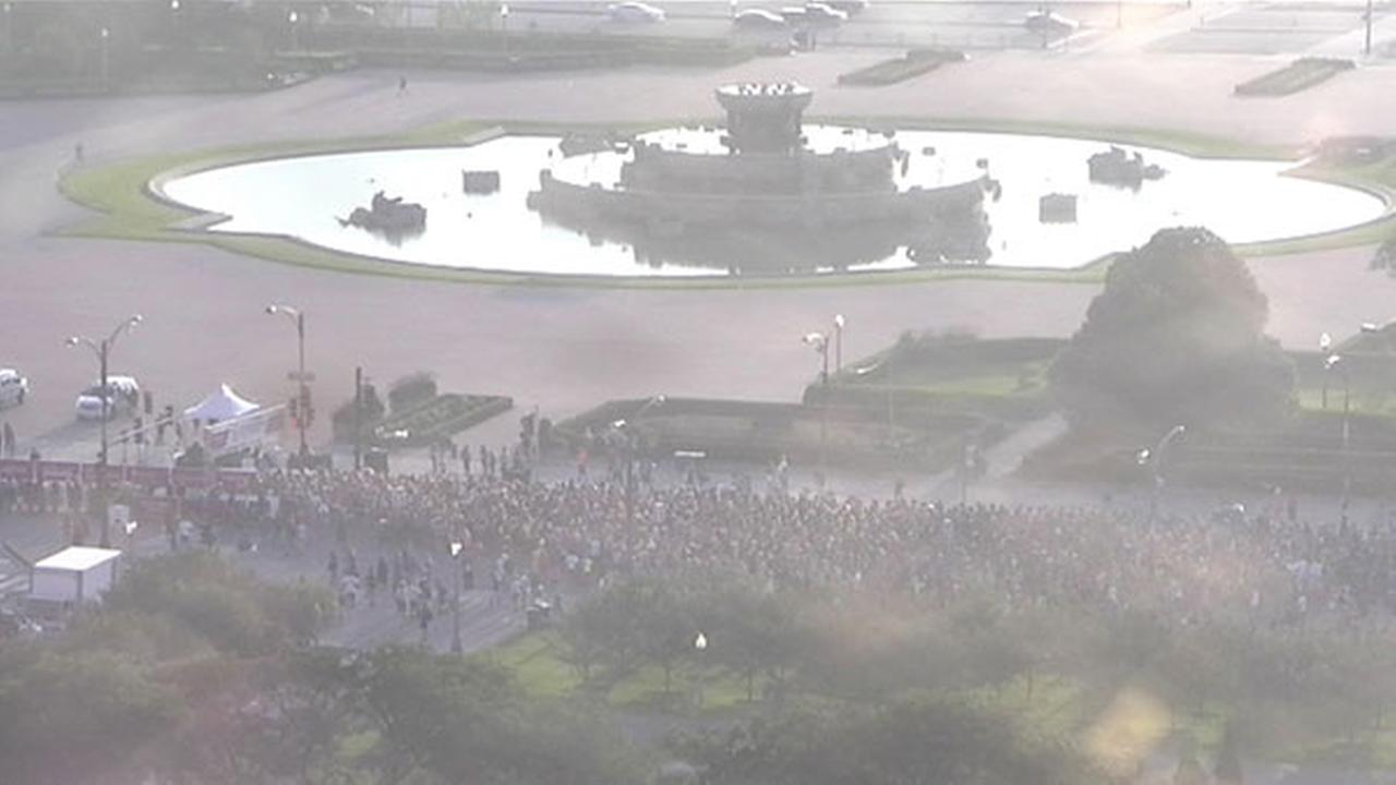 The race began at 7 a.m. Sunday at Buckingham Fountain.