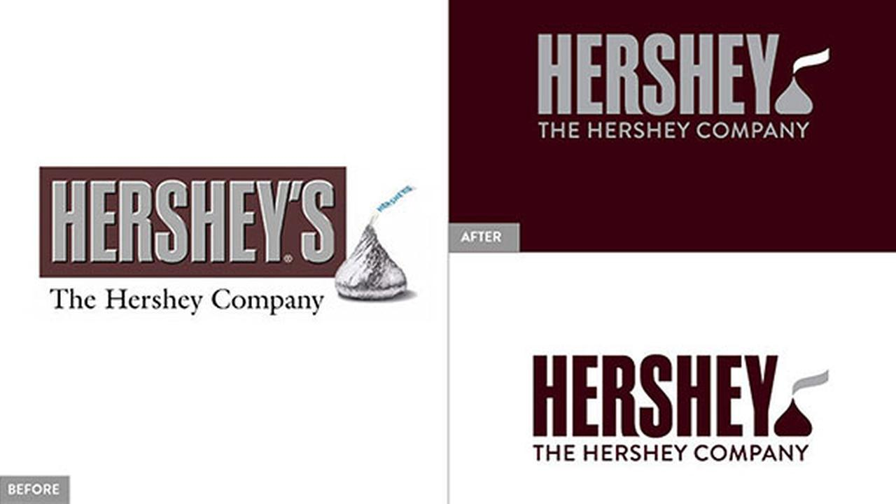 This image provided by The Hershey Company shows the companys old and new corporate logos.  On Friday, Aug. 29, 2014, the candy maker announced a new design.