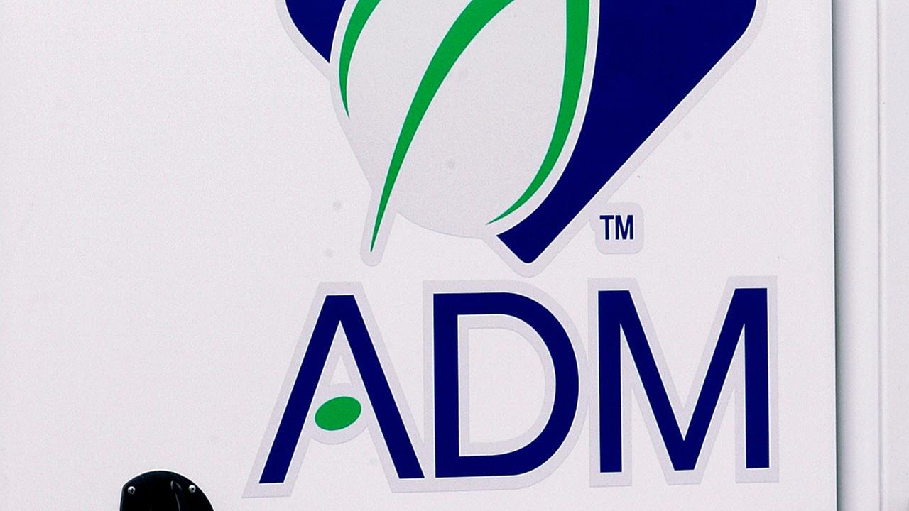 (FILE) Archer Daniels Midland Co. logo shown at a processing tank at an Illinois facility.