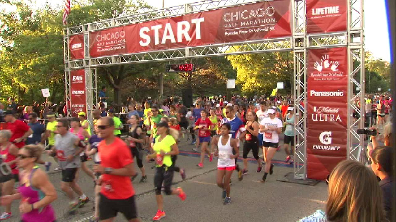 Nearly 10,000 people laced up their running shoes in Chicago to run for a good cause on Sunday.