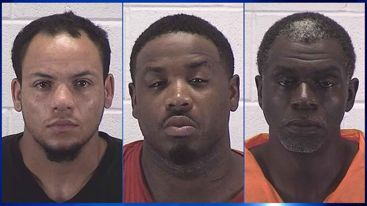 Three men have been charged in connection with Thursday nights armed robbery at a KFC restaurant in west suburban Aurora in which three people were shot.