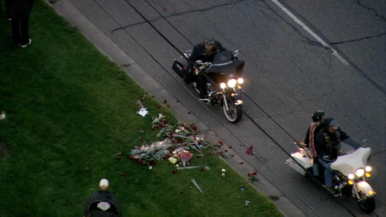 Motorcyclists took part in a rose ride from Crown Point to the Merrillville Police Department, where each person left a flower in Schultzs honor.