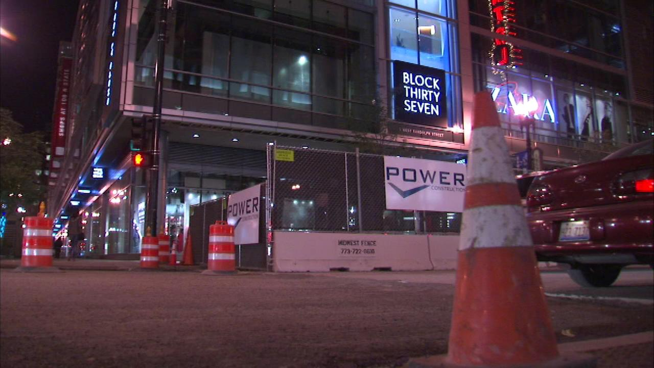 Construction barricades are up this weekend around Block 37 in the Loop.
