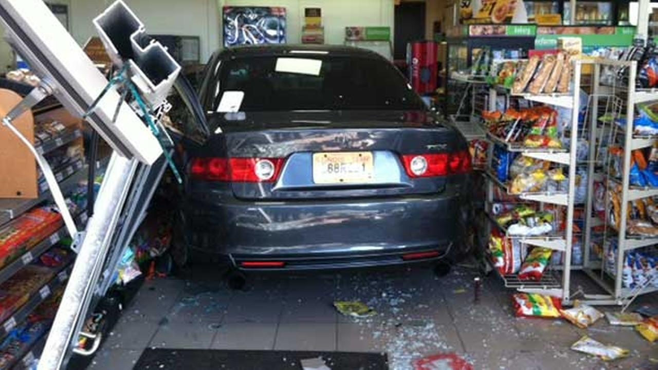 A vehicle drove through the front of a 7-11 store in the 800-block of Foxworth Blvd. in Lombard Sunday morning, police said.
