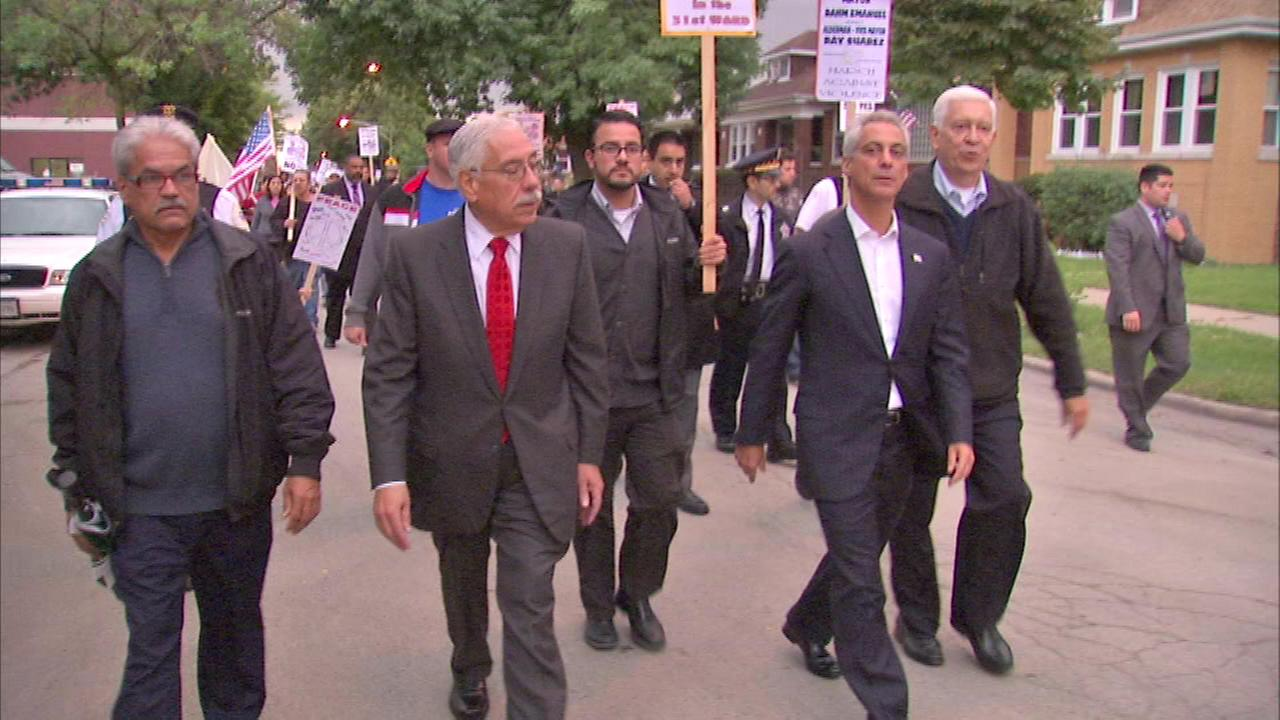 Mayor Rahm Emanuel joined Ald. Ray Suarez for the march that started at Falconer Elementary School.