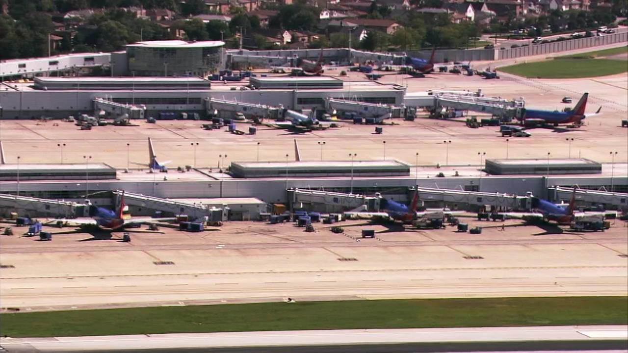 Southwest Airlines planes are shown at Midway Airport on September 16, 2014.