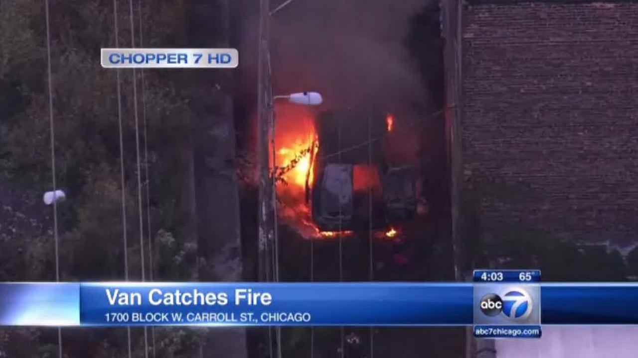 A cargo van caught fire earlier Tuesday morning on the citys Near West Side.
