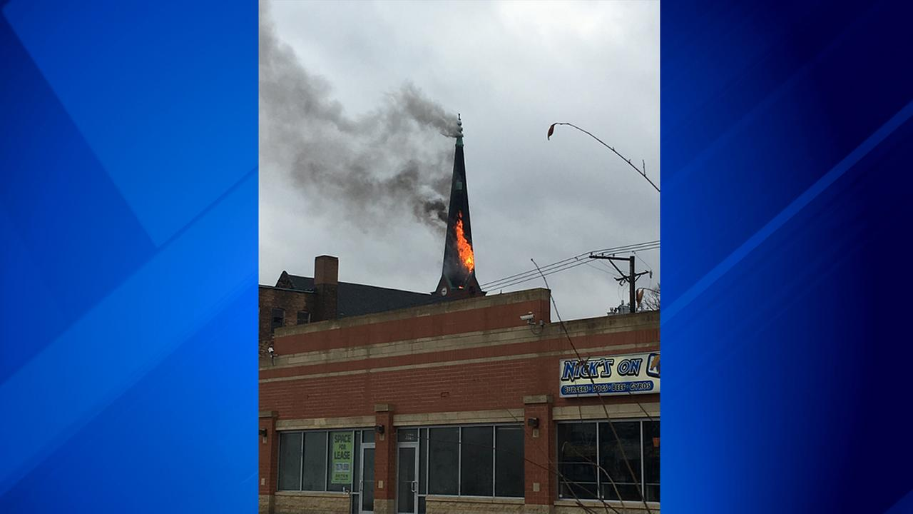 A fire at a church in Humboldt Park Tuesday morning