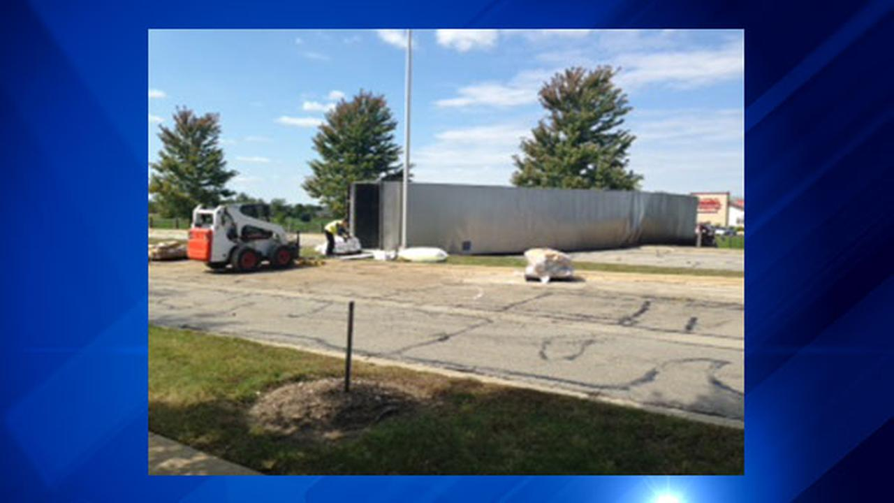 A truck rolled over on Remington Blvd. in suburban Bolingbrook Wednesday morning, police said.