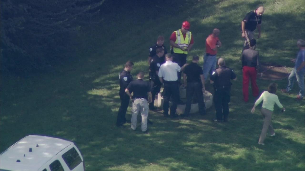 A girl fell through a grate and became trapped in a 10-foot deep hole during recess on Friday, September 19, 2014, in Plainfield.