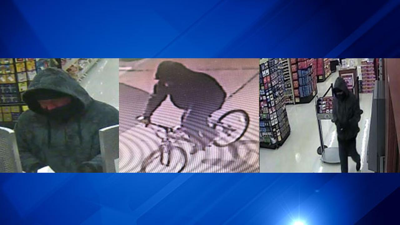 A surveillance photo shows a suspect in a Wednesday morning bank robbery in west suburban Glendale Heights.